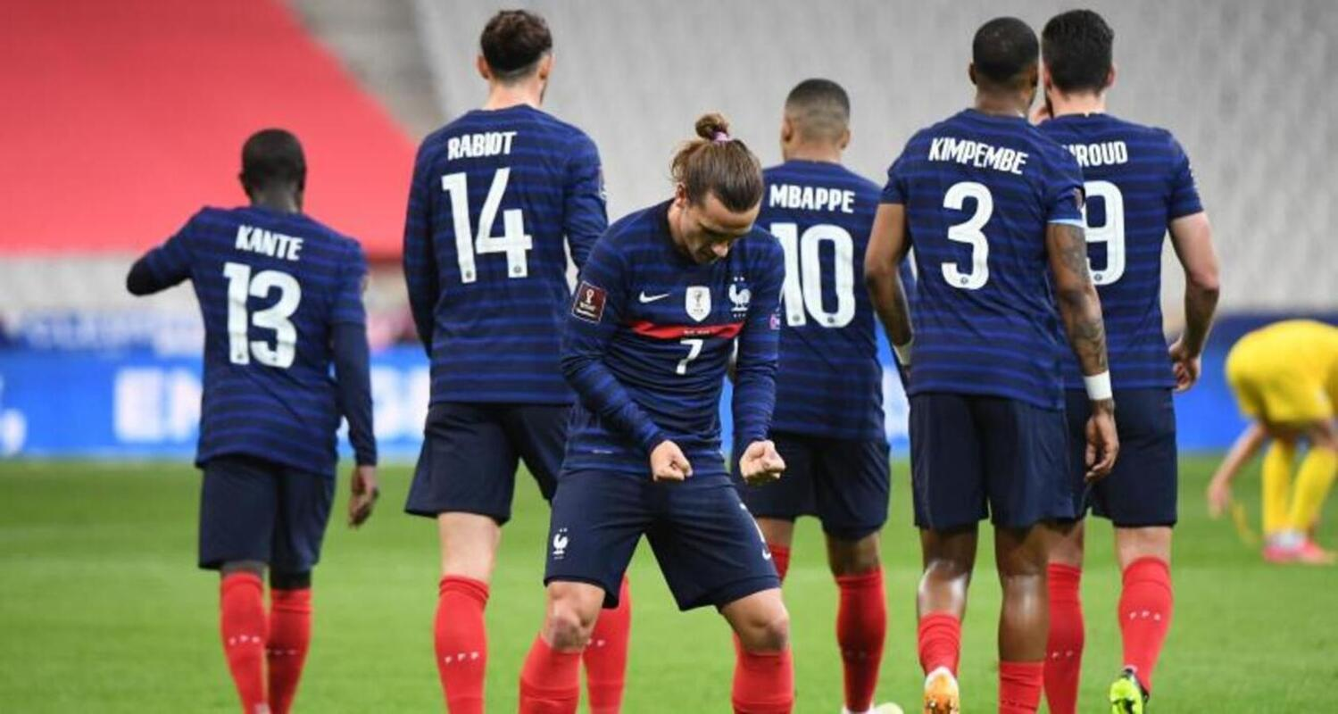 Photo d'Antoine Griezmann célébrant son but face à l'Ukraine mecredi 24 mars.